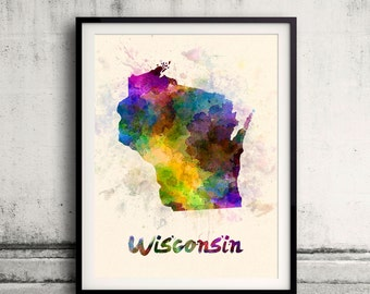 Wisconsin State in watercolor background 8x10 in. to 12x16 in. Poster Digital Wall art Illustration Print Art Decorative  - SKU 0437