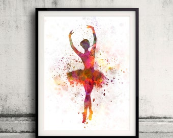 Woman ballerina ballet dancer dancing 8x10 in. to 12x16 in. Poster Digital Wall art Illustration Print Art Decorative  - SKU 0502