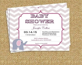 Pink Gray Chevron Elephant DIY Baby Shower Invitation- PDF - Instant Download