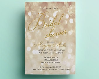 Gold Bridal Shower Invitation Template Printable Bridal Shower Invitation  Design Instant Download Premade Custom Card Gold  Bridal Shower Invitation Templates Download