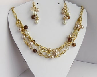 Gold and Pearl Necklace and Earring Set