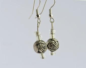 Silver Rose Bead Earrings