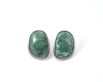 Natural Turquoise earrings, turquoise studs, Sterling Silver earrings, hand made studs, Turquoise and sterling silver studs