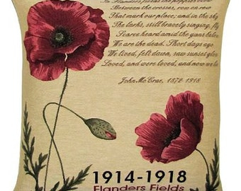 Flanders Fields Pillow Cover - Poppy pillow cover - Poppy decor - 18x18 Belgian Tapestry Pillowcase - PC-5325