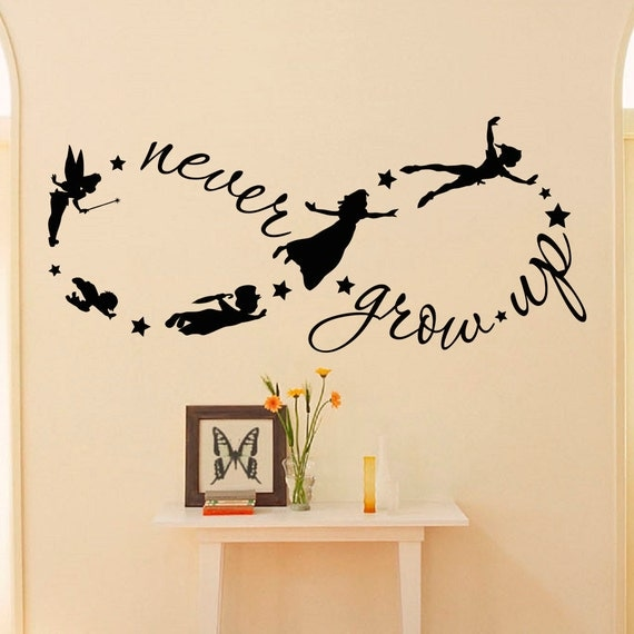 peter pan wall decal children flying silhouette by