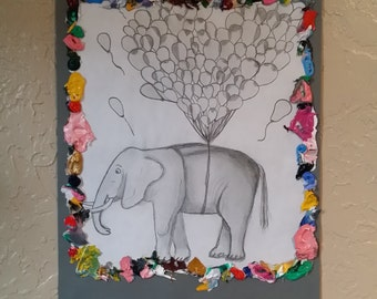 Corky Floating Elephant- 12x9, black and white drawing, acrylic paint, wall art