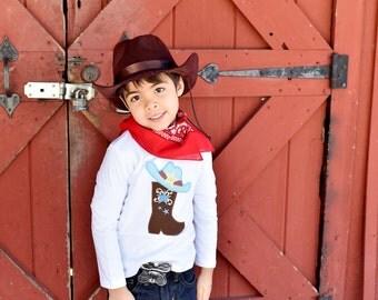 Boys Cowboy Shirt - Short or Long Sleeve - Cowboy Birthday Party