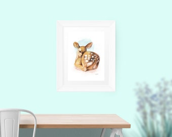 Little Fawn Art Print from Original Acrylic 16 x 20 inches