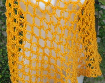 Crochet Asymmetrical Shawl or Cover Up - Mustard