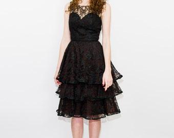 Very Unique 1940'S Black Lace Dress
