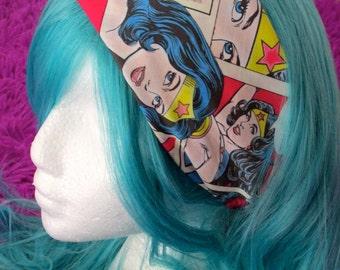 Wonder Woman Bandana Head band Hair Scarf DC Superhero Comics Comic book Rockabilly Pin Up Style Hair Accessory