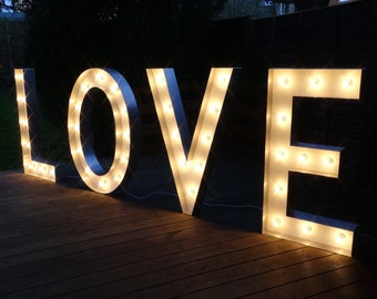 HIRE LOVE Light up Letters in Large/Small Sizes. Free Standing LOVE Letters Handmade in Wood with Metal Surrounds for Weddings/Home/Events