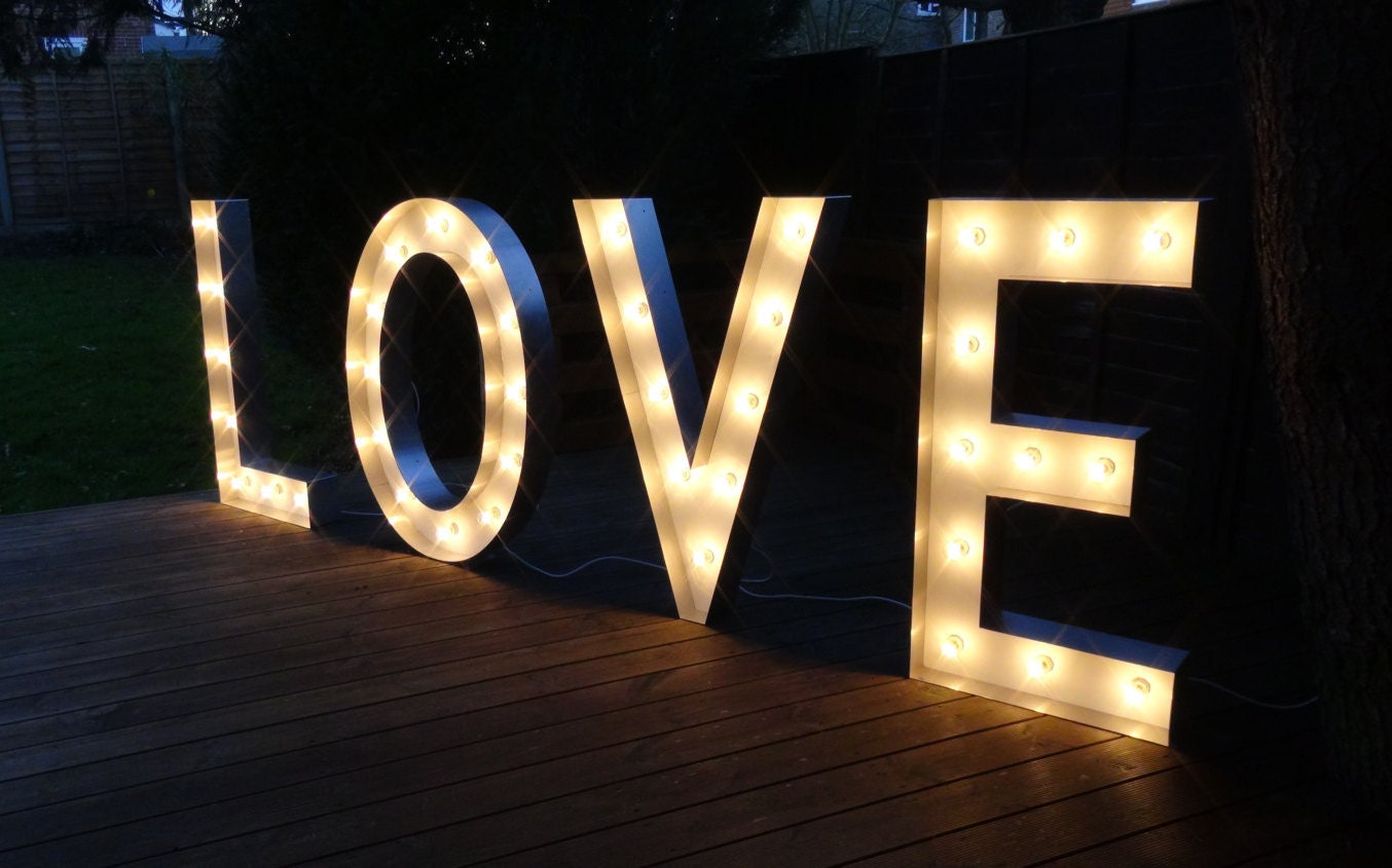 Hire love light up letters in large small sizes free standing for Light up letters