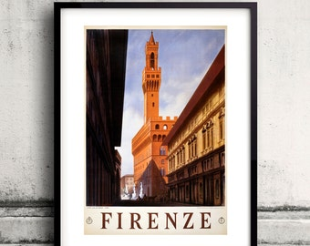 Firenze, vintage travel poster Digital Wall art Illustration Print Decorative - SKU 0037