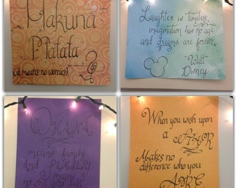Handwritten Disney Quotes- Set of 4 Hand Drawn Calligraphy Quotes