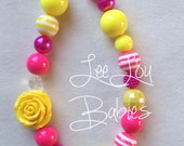 Girls Summer Yellow and Pink Chunky Bubblegum Necklace, Toddler Necklace, Chunky Baby Bubblegum, Summer Necklace, 1st Birthday Necklace