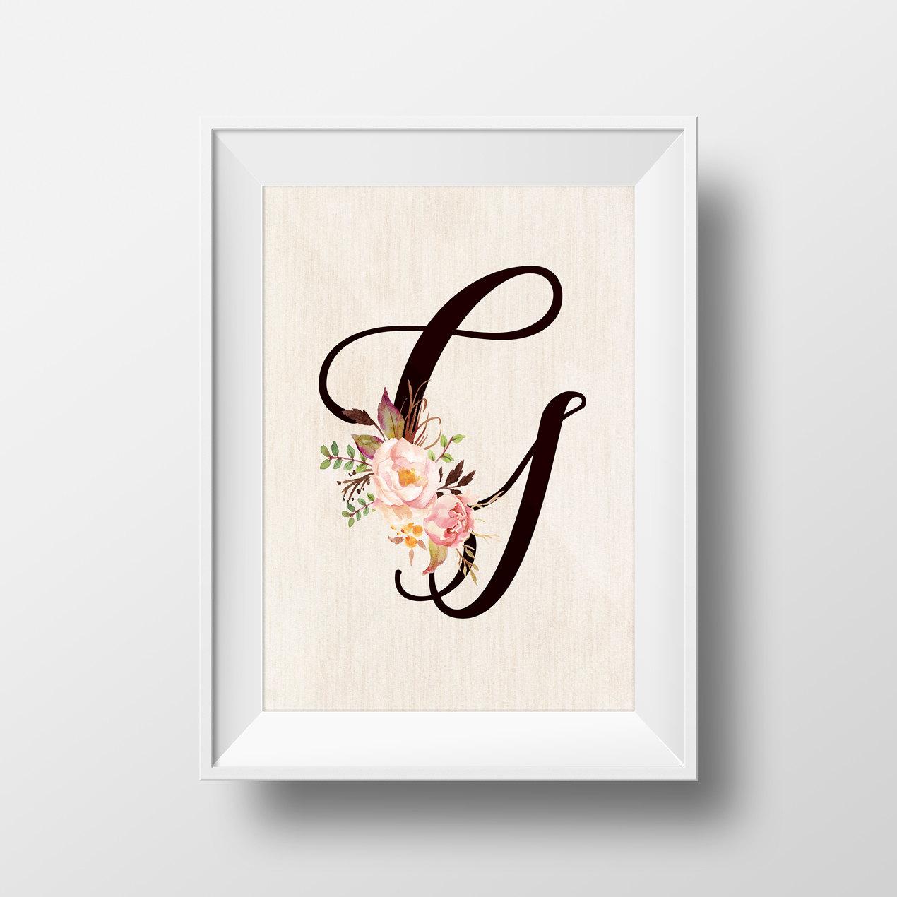 Shop Floral Monograms At Littlebrownnest Etsy Com: Floral Monogram Letter G Wedding Kids Initials Baby Shower