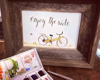 Enjoy the Ride Bicycle Watercolor Print