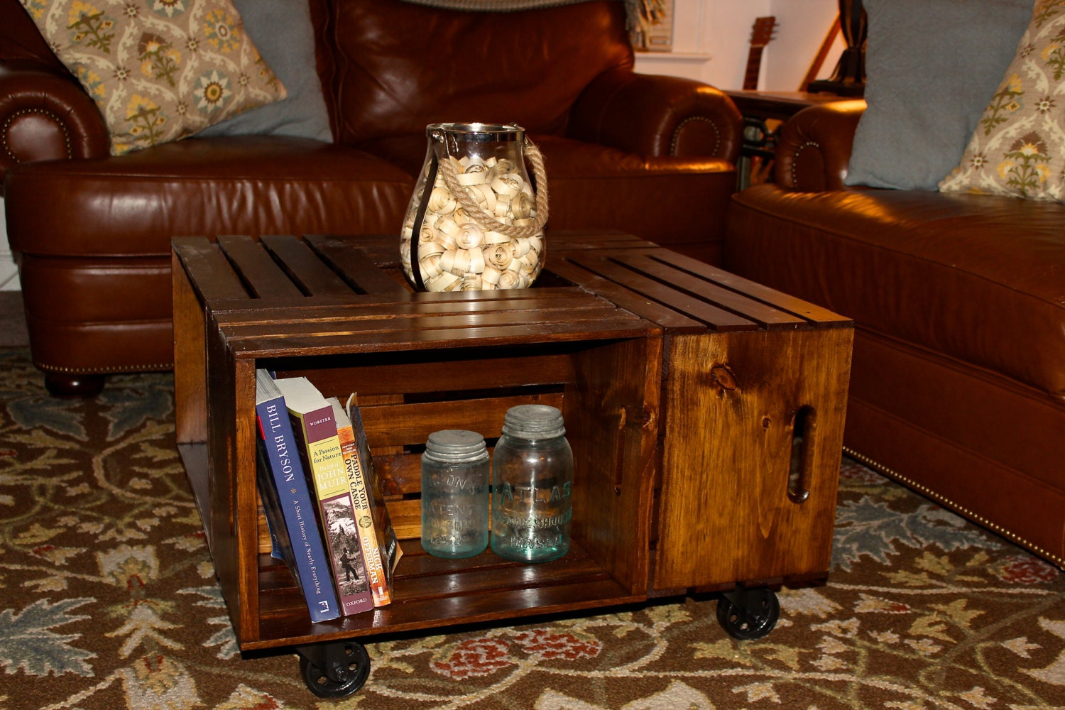 Wooden crate coffee table by alexswoodworks on etsy for Wood crate coffee table