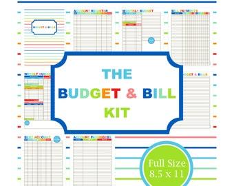 the budget u0026 bill kit budget planner printable budget bill organizer financial - Bills Organizer
