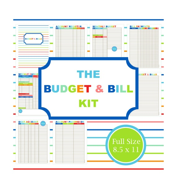 The Budget  Bill Kit Budget Planner Printable Budget Bill