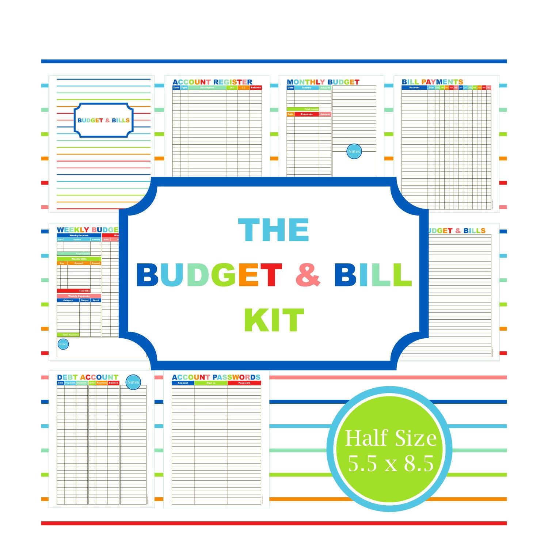 The budget bill kit budget planner printable budget bill for Home finance bill organizer template