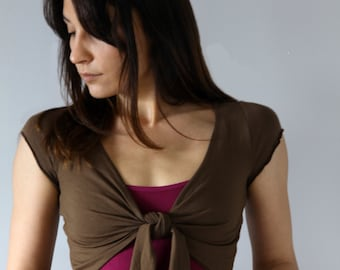 Brown stretch viscose  top perfect for yoga and dance.