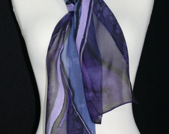 Periwinkle Silk Scarf. Lavender Hand Painted Silk Shawl. Handmade Chiffon Silk Scarf PERIWINKLE STREAMS Size 8x54 Birthday, Bridesmaid Gift.