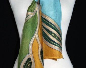 Olive Green, Sage Green Hand Painted Silk Scarf DREAM GARDEN, size 8x54. Handmade Silk Shawl. Birthday, Bridesmaid Gift. Gift-Wrapped