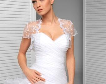 Ivory or White Cap Sleeve Lace Wedding Jacket Bridal Bolero Shrug