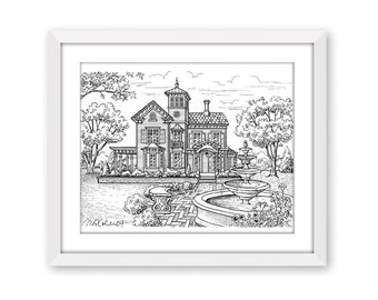 Jedediah Hawkins Inn, Pen and Ink Print, 5x7, 8x10, 11x14, 13x19, Architectural Print, Pen and Ink Illustration, Victorian House Drawing