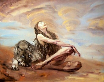 Oil painting  on canvas Original artwork Hand painted The woman with  wolf