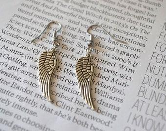 Handmade silver plated angel wings charm earrings