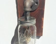 Popular items for mason jar lighting on etsy for Industrial pipe light socket