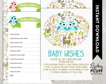 Owl Twin Baby Shower Baby Wishes / Woodland Baby Wishes / Forest Animal Baby Wishes / DIY Printable /  *Digital file*