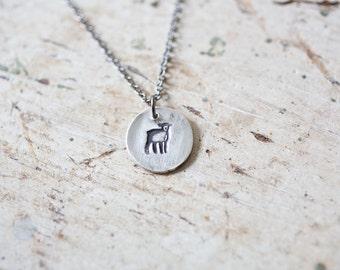 Lamb Necklace, Lamb Necklace, Silver Lamb, Silver Lamb, Lamb Pendant, Lamb Pendant, Small Bunny, Animal Jewelry