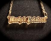 Gothic Mashed Potatoes Mirror Acrylic Necklace