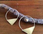 Triangle Hoop Earrings - Sterling Silver / Brass