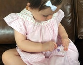 RESERVED LISTING for CALMLYTHINK Cotton Two-print Dress - Pink Gingham Check plus Custom Lamb Dress with red and white spots.