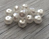 Glass beads - Czech glass rondelle beads - white pearl 8x6mm pack of 12