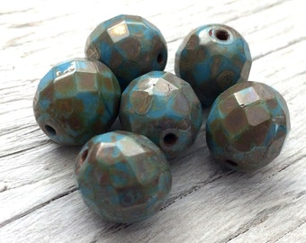 Czech glass beads -faceted round firepolish beads blue picasso 12mm  pack of 6