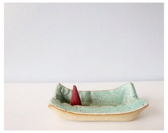 Cone incense burner incense holder - ceramic plate pottery dish
