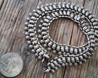 "Intricate Vintage Thai Silver 1/2"" Wide Necklace, 16"" Length. Floral Stamped Pattern, Snake Style with Hook Clasp"