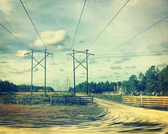 Powerlines FREE SHIPPING Florida landscape The south Southern image Old rural dirt road Clouds Blue Square print Green White Yellow Wall art