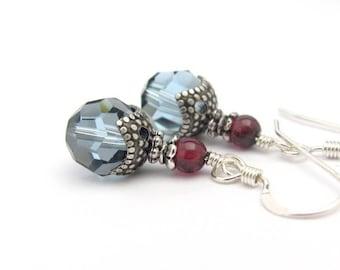 Crystal and Garnet Gemstone Earrings, Crystal Earrings, Sterling Silver Earrings, Swarovski Crystal, Garnet Earrings, Blue Earrings