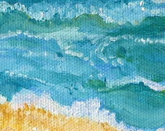 Seascape, Beach acrylic painting canvas art Original Ocean Art, 3 x 3, miniature painting of beach, sea acrylic painting Sharon Foster Art