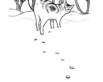 Snow, original cat illustration by Johanna Öst