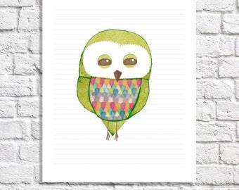 Bright Modern Nursery Decor Colorful Baby Boy Room Print Owl Picture Little Girls Room Poster Quirky Animal Kids Illustration Lime Green Art