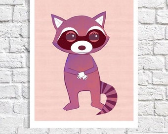 Raccoon Nursery Decor For Girl Cute Animal Art Baby Room Idea Woodland Print Forest Animal Picture Pink Wall Artwork Whimsical Illustration