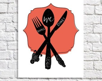Dining Room Wall Art Poster Digital Print For Kitchen Foodie Gift Apartment Decor Fork Spoon Knife Artwork Small Art Eat Sign Utensils Art